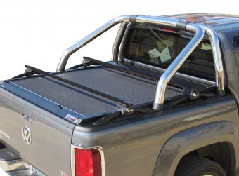 Guide (rotaie) per il tetto inossidabili in nero opaco per il VW Amarok (compatibile con roll bar originale VW OEM Φ76)